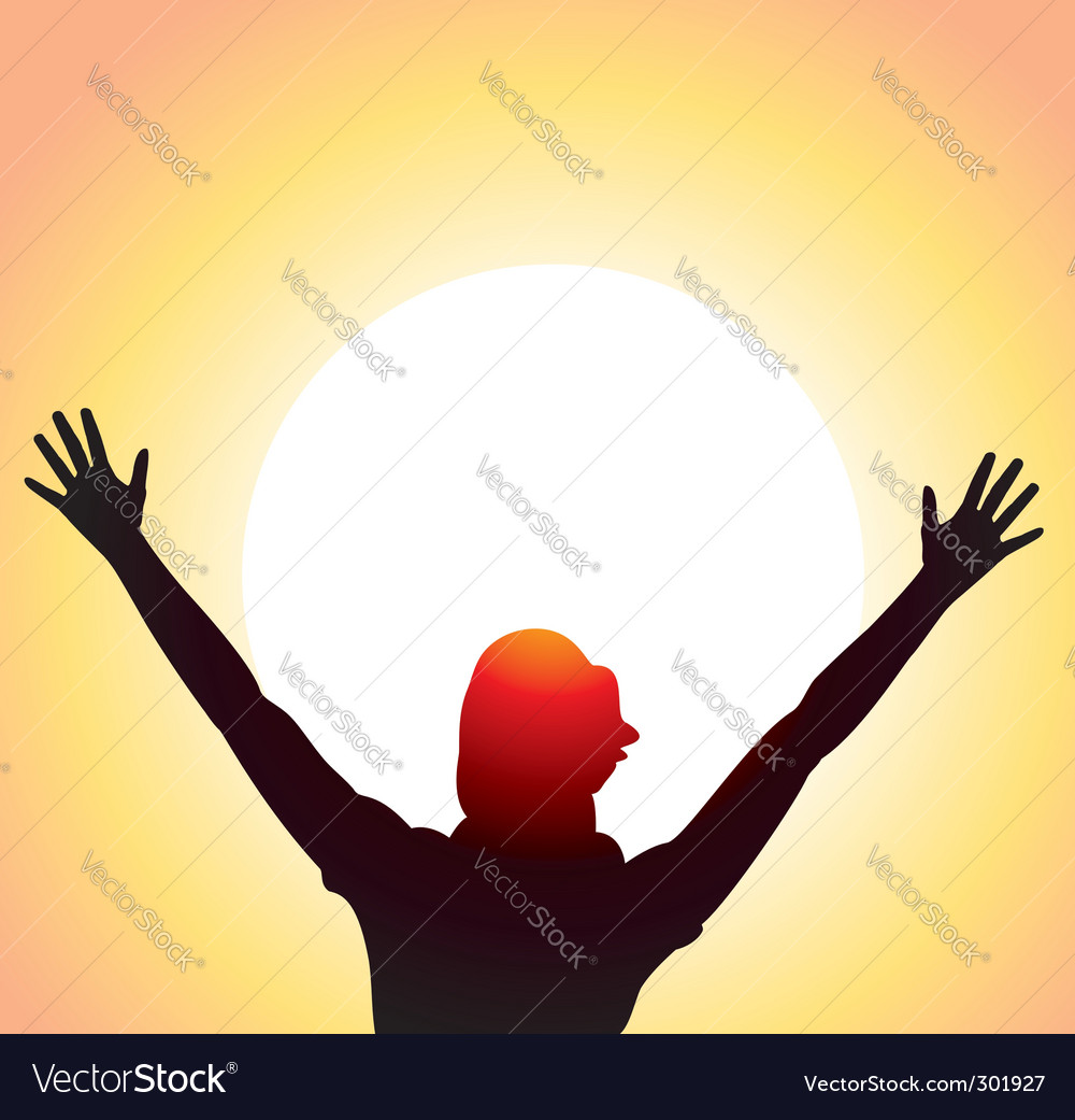 A girl with raised hands vector
