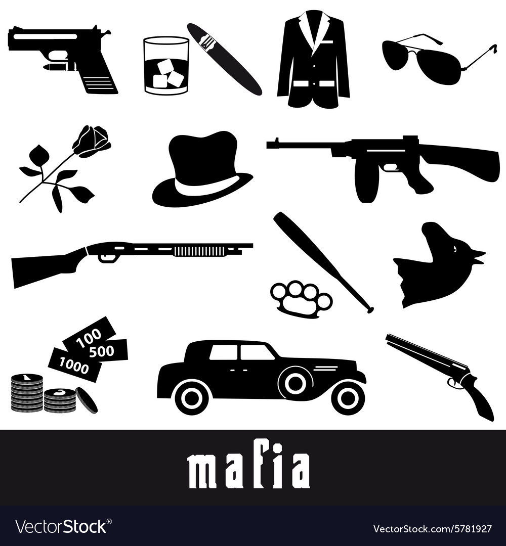 Mafia criminal black symbols and icons set eps10 vector