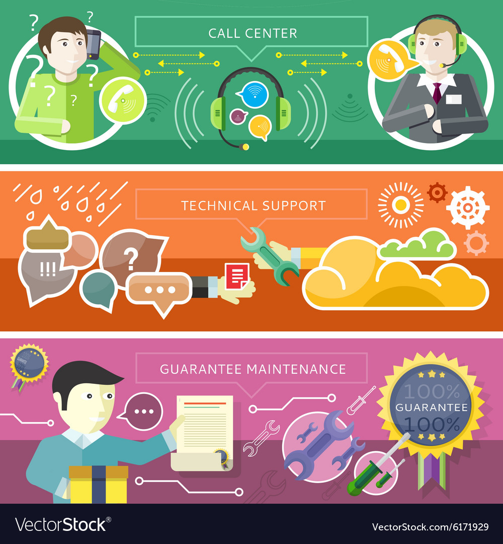 Set call center technical support concept vector