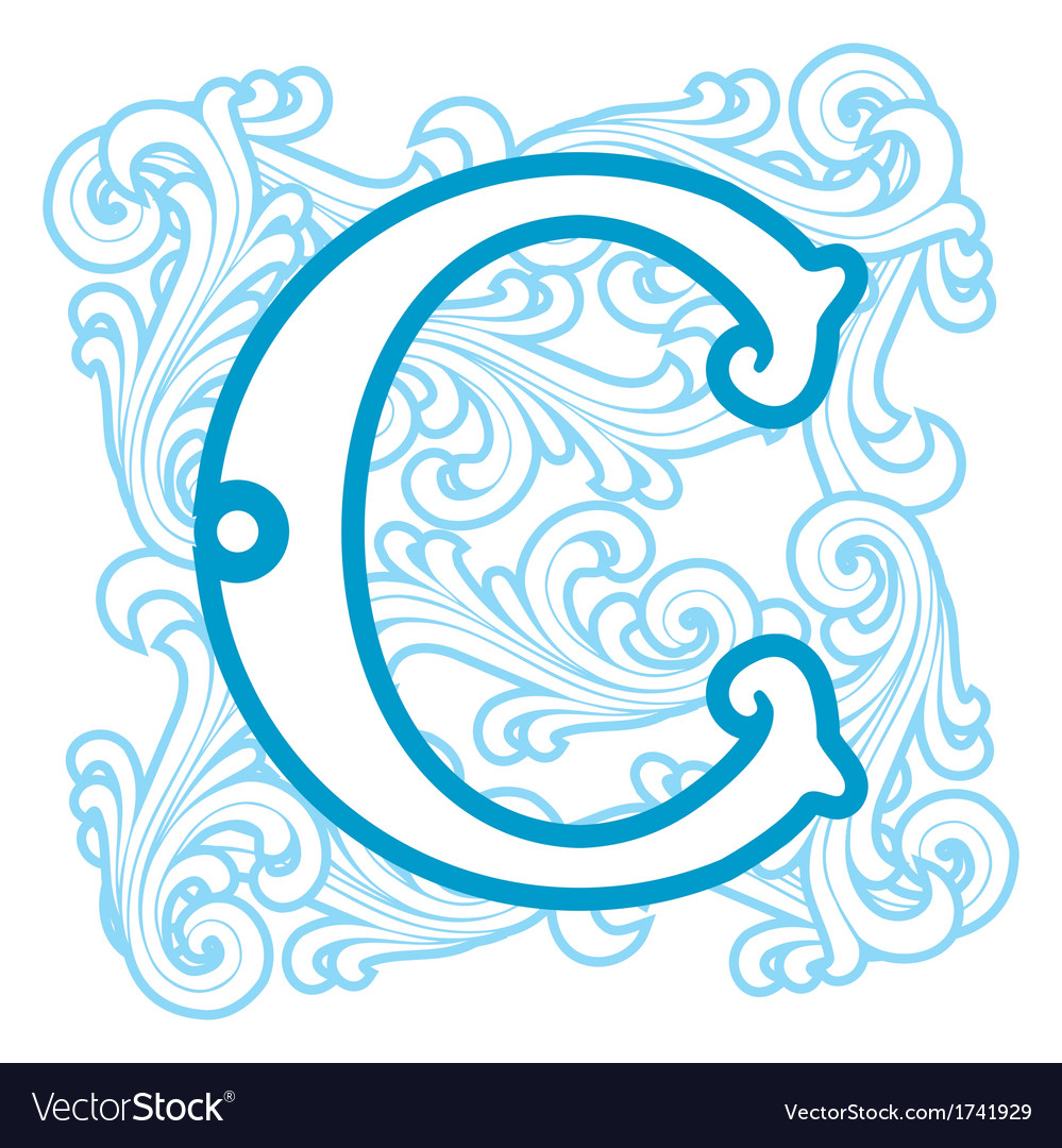 Winter vintage letter c vector