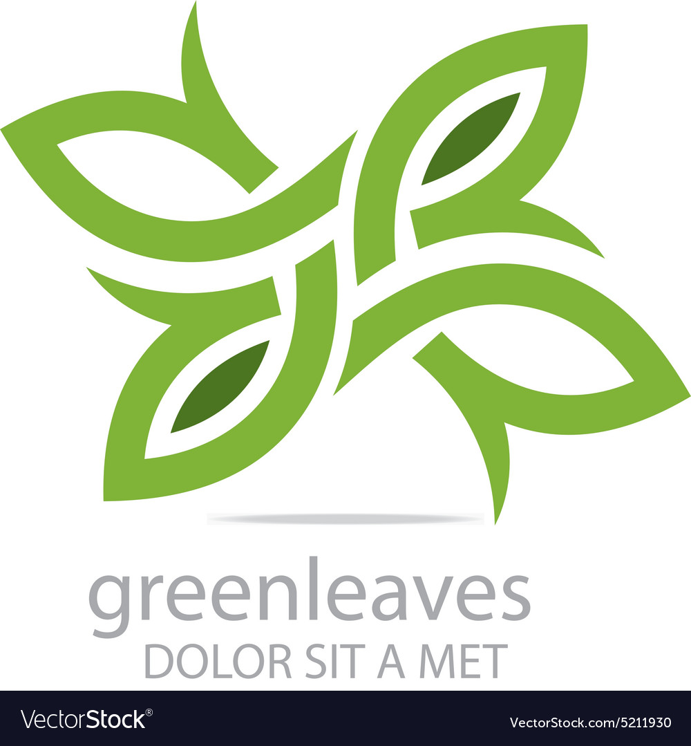Abstract logo green leaves ecology design vector