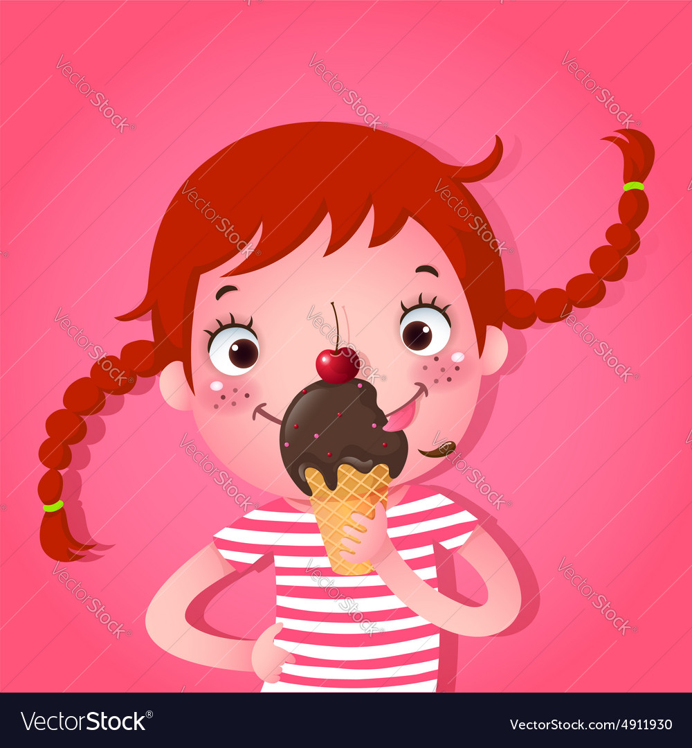 Cute girl eating icecream vector