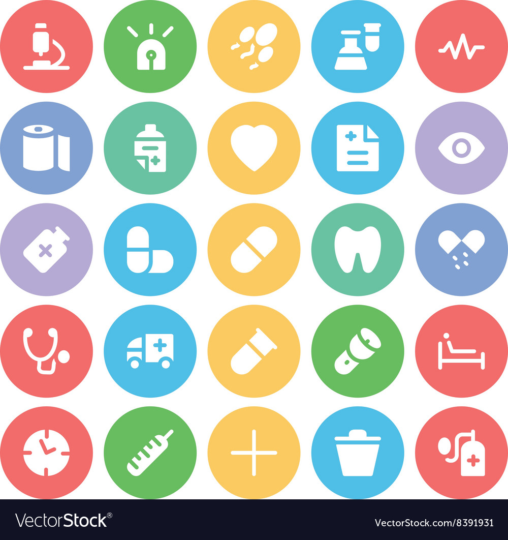Medical colored icons 7 vector
