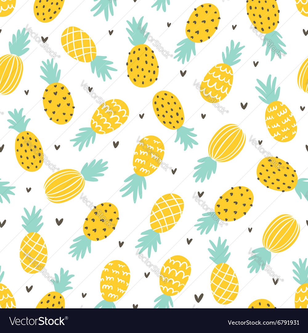 Pineapple and hearts seamless pattern vector