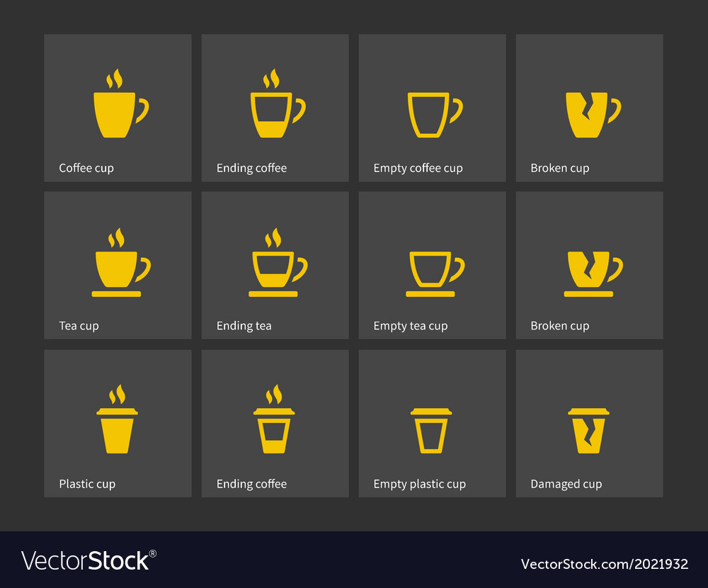 Coffee mug duotone icons vector