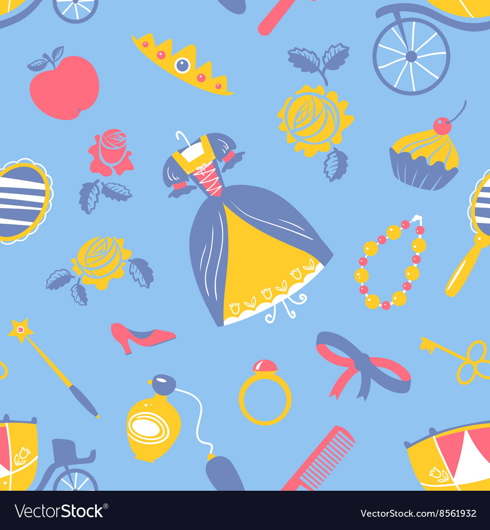 Princess accessory seamless pattern vector