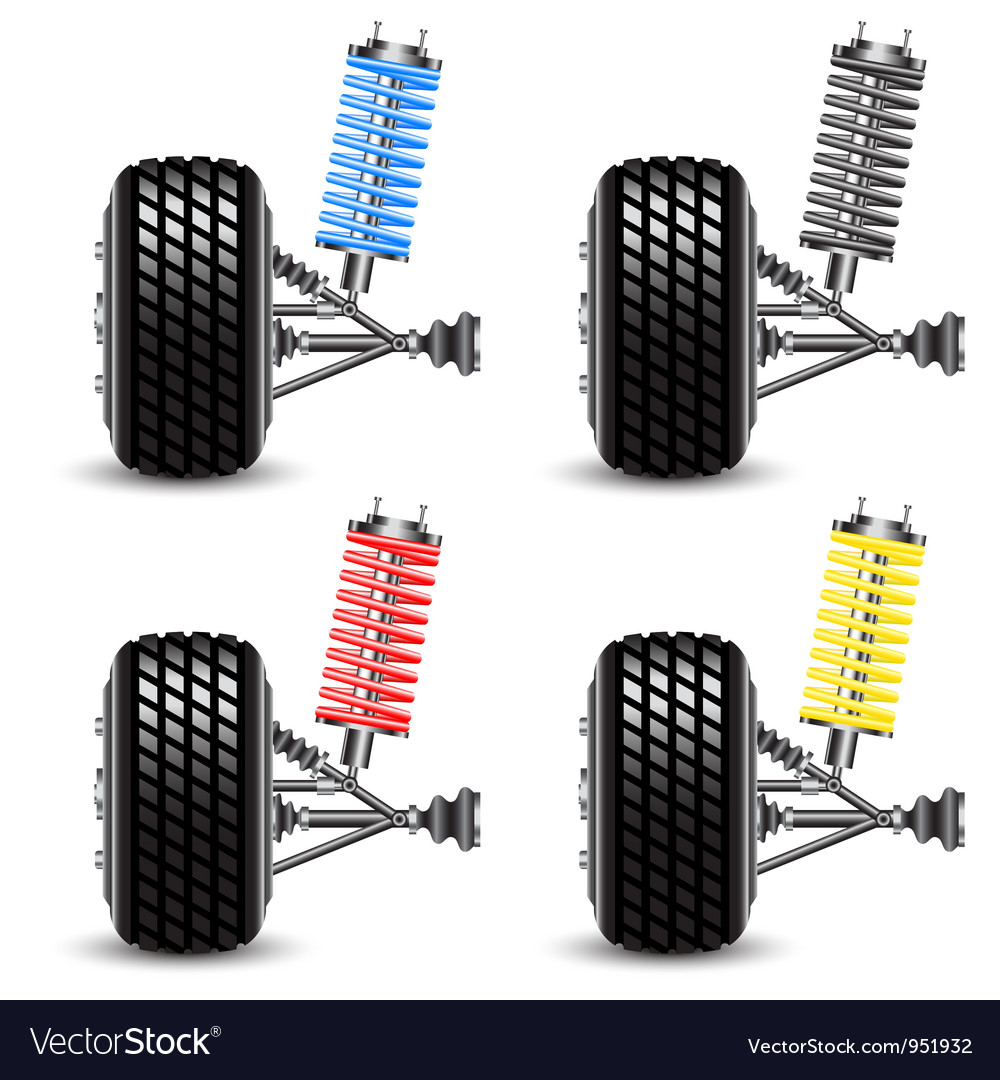 Set car suspension frontal view vector