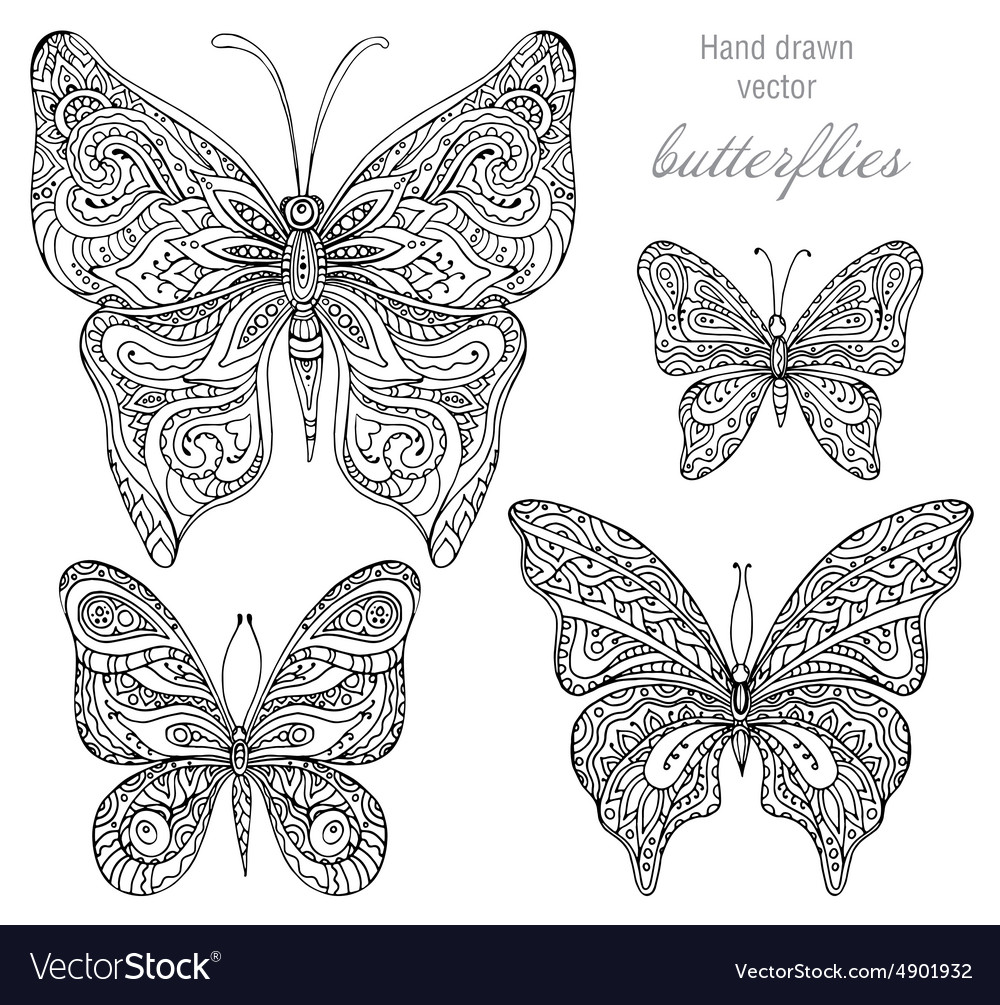 Set of black and white ornamental butterflies vector