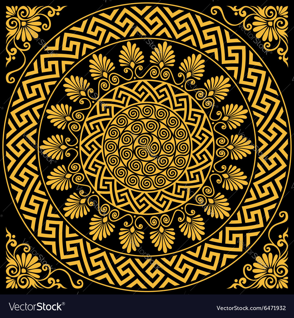 Traditional vintage gold greek ornament vector
