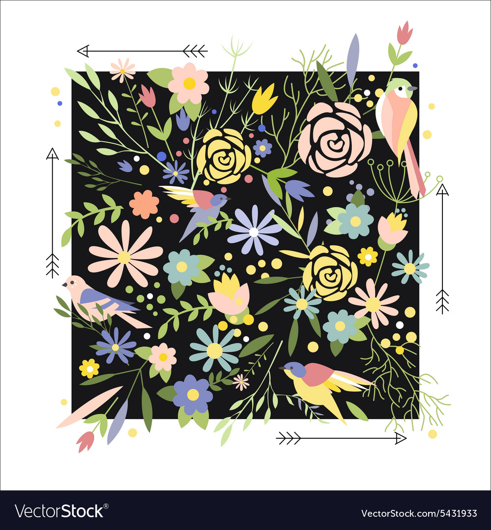 Flowers graphic design for tshirt fashion vector