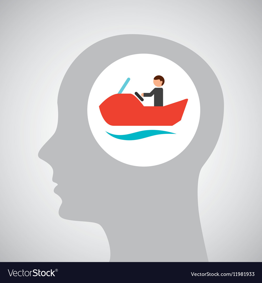 Head silhouette water bike extreme sport vector