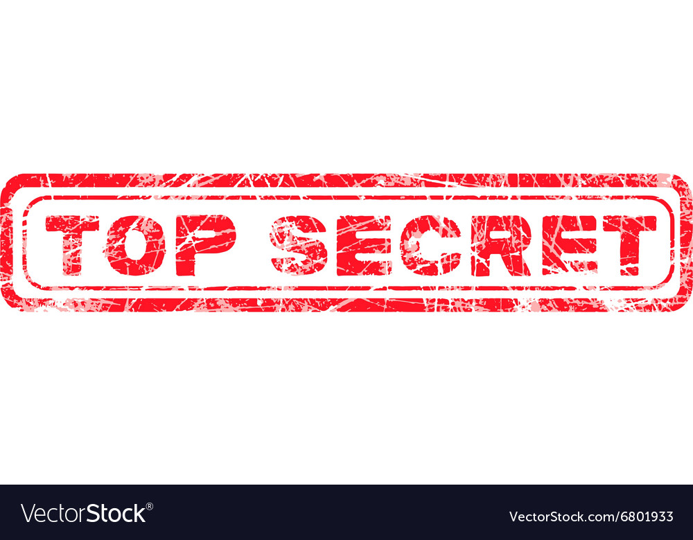 Red grunge top secret vector