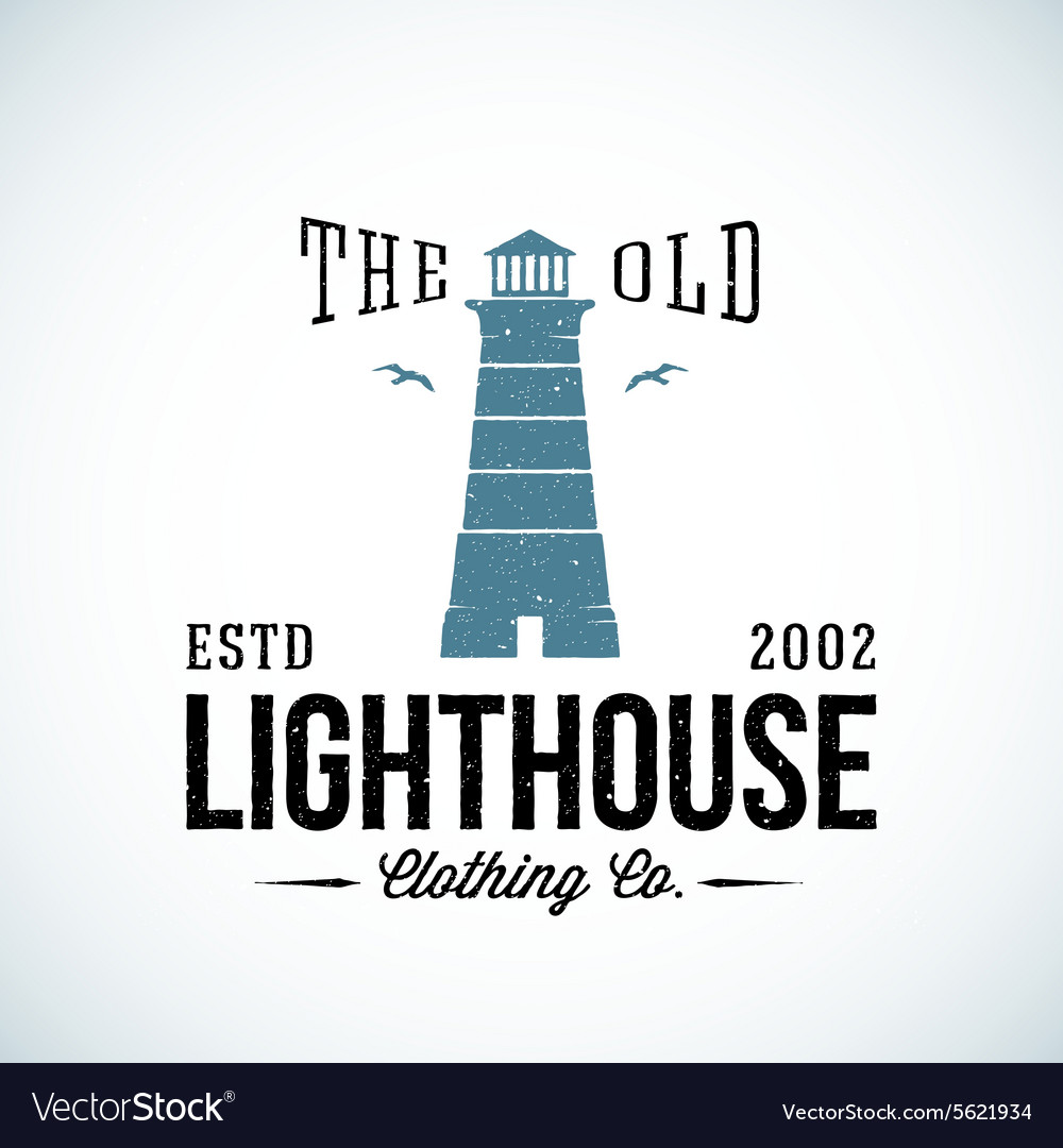 Old lighthouse nautical abstract retro vector