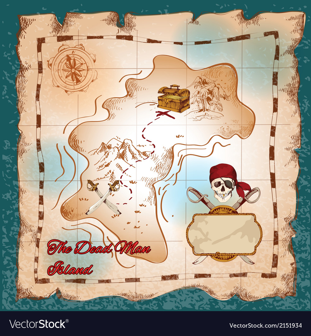 Pirates treasure map vector