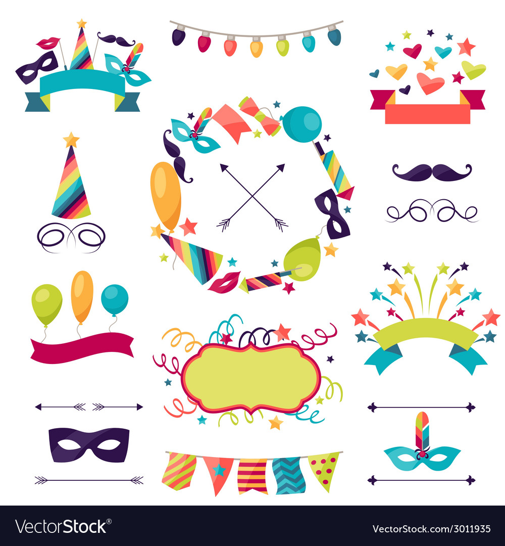 Celebration carnival set of icons decorations and vector