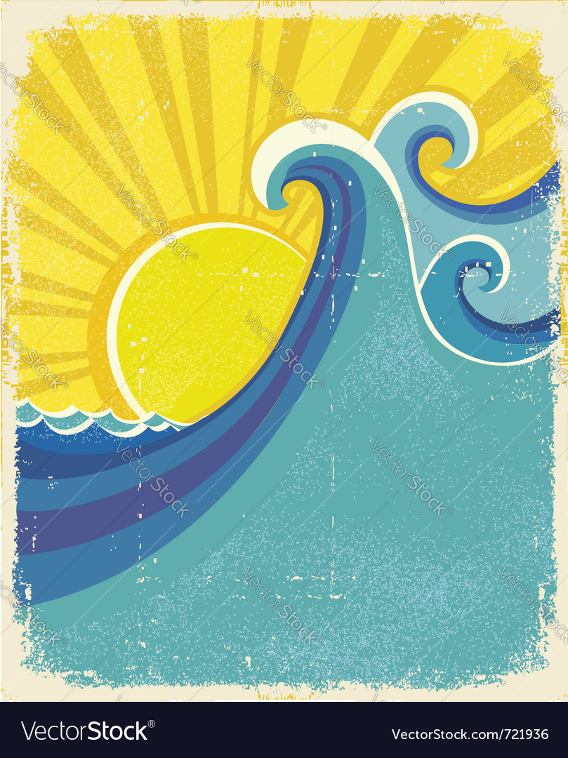 Sea waves poster vector