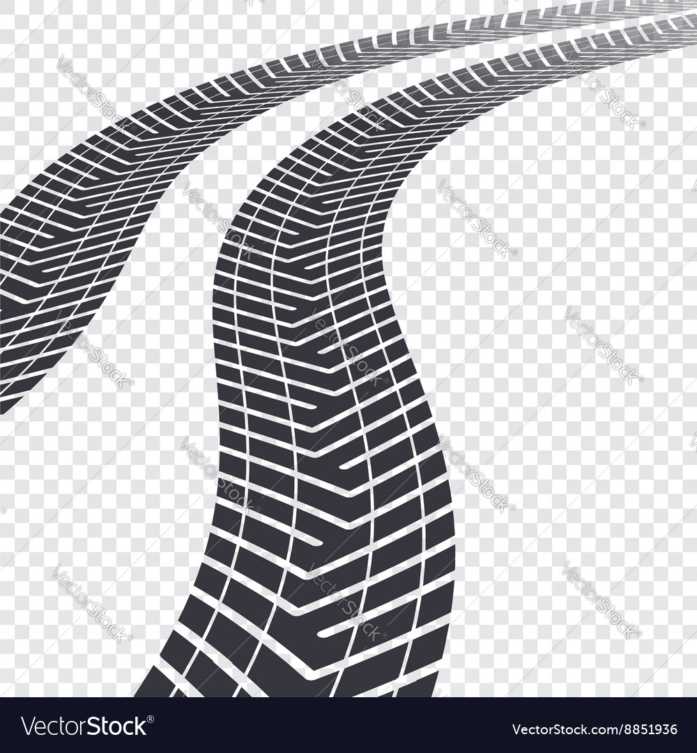 Tire tracks on transparent vector
