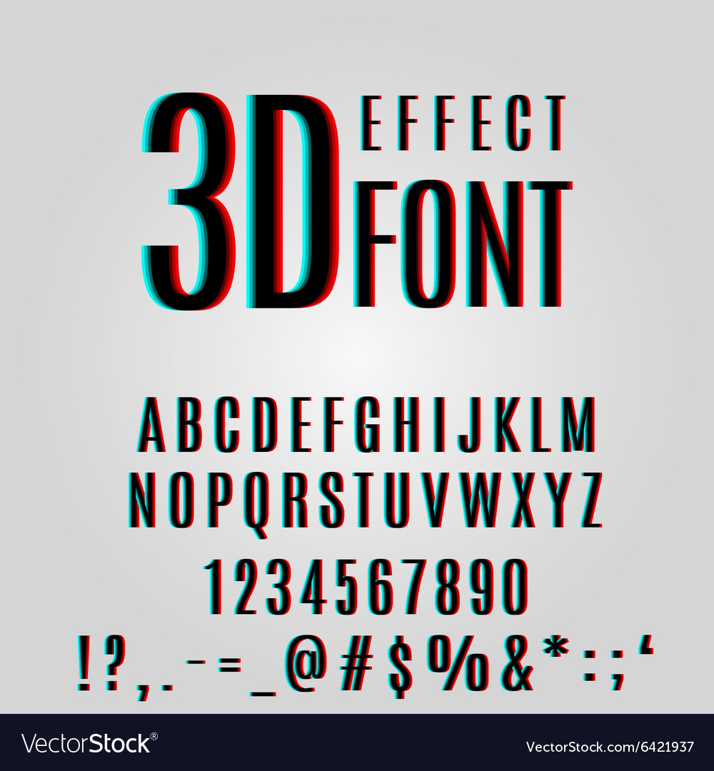 Font stereoscopic 3d effect vector