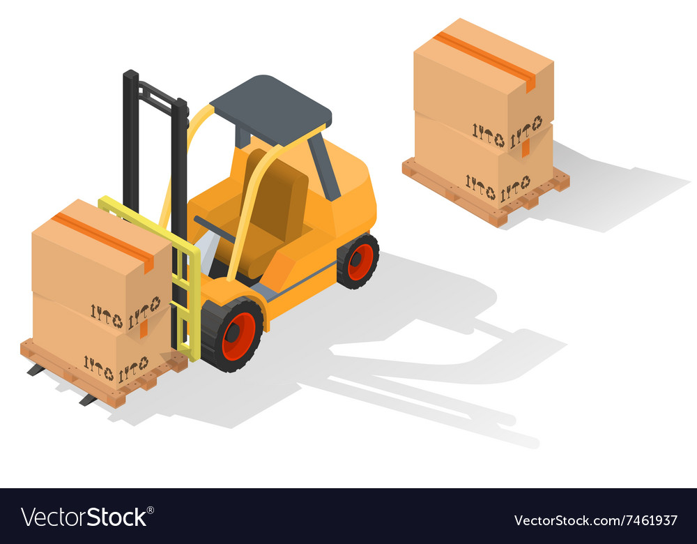 Isometric forklift truck with box vector