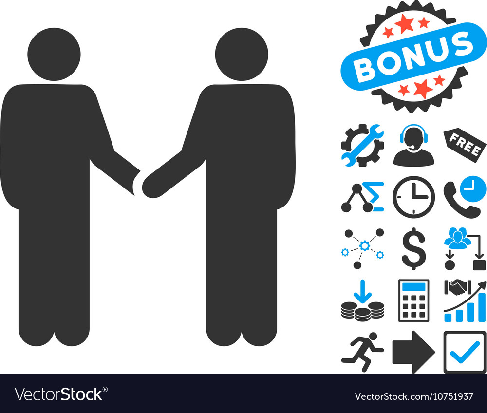 Persons handshake flat icon with bonus vector