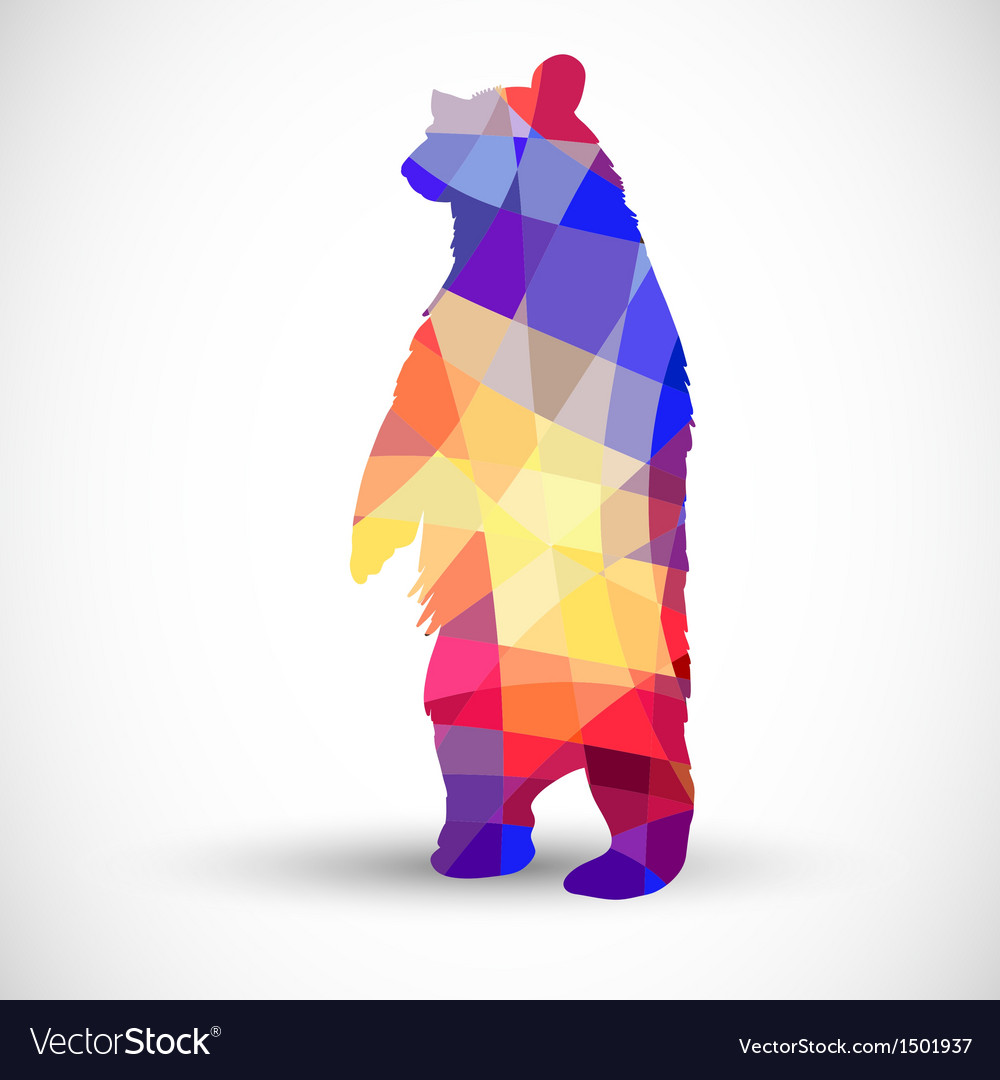 Silhouette a bear of geometric shapes vector