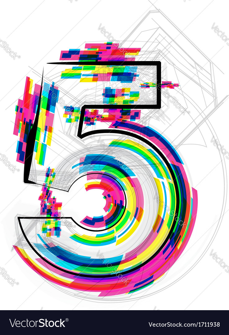 Colorful number 5 vector