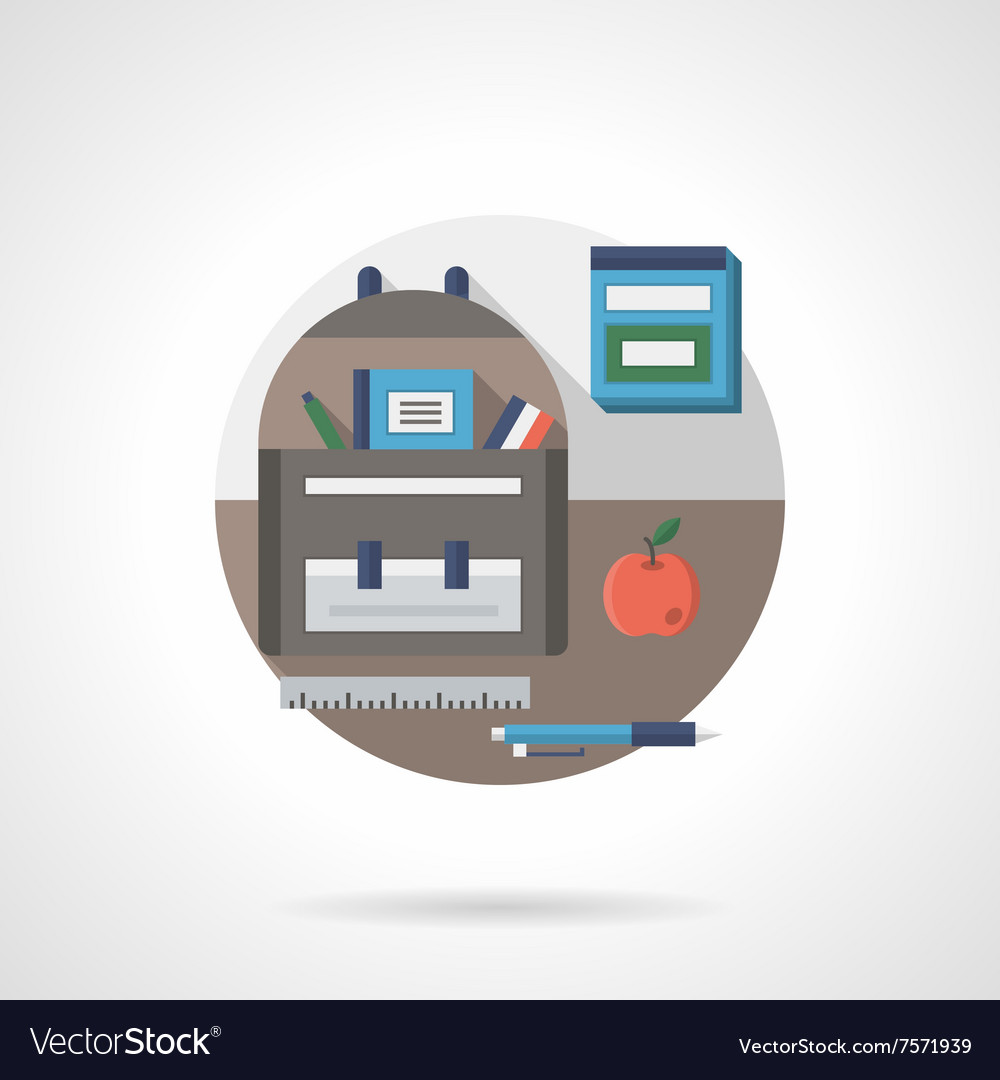 Back to school detail flat color icon vector