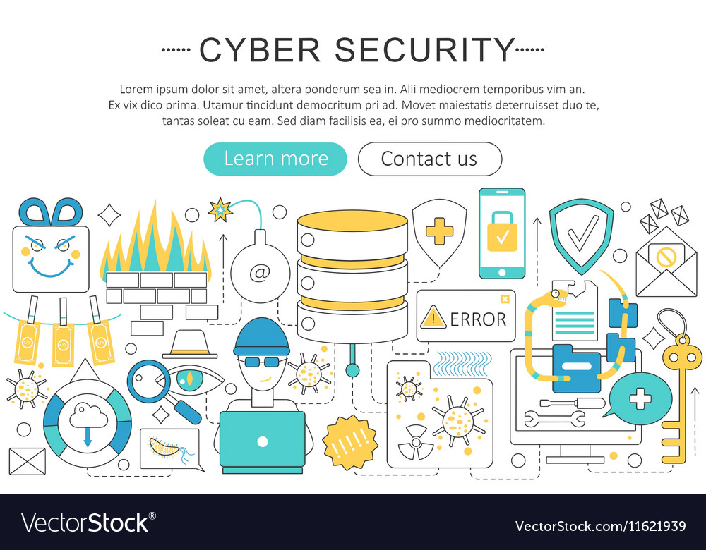 Elegant thin flat line cyber security vector