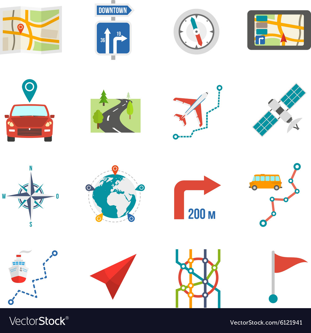Map icons flat vector
