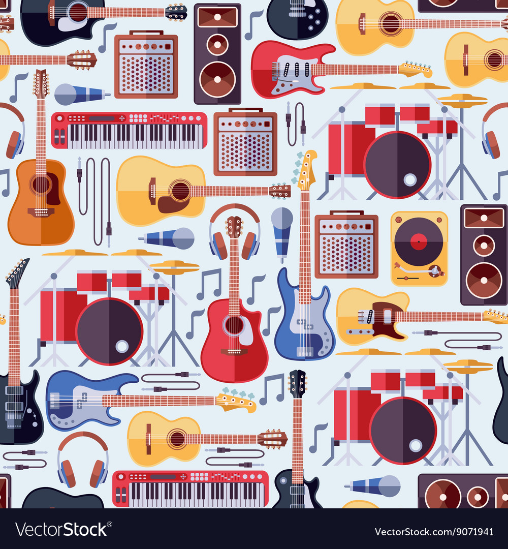 Music instruments seamless background vector