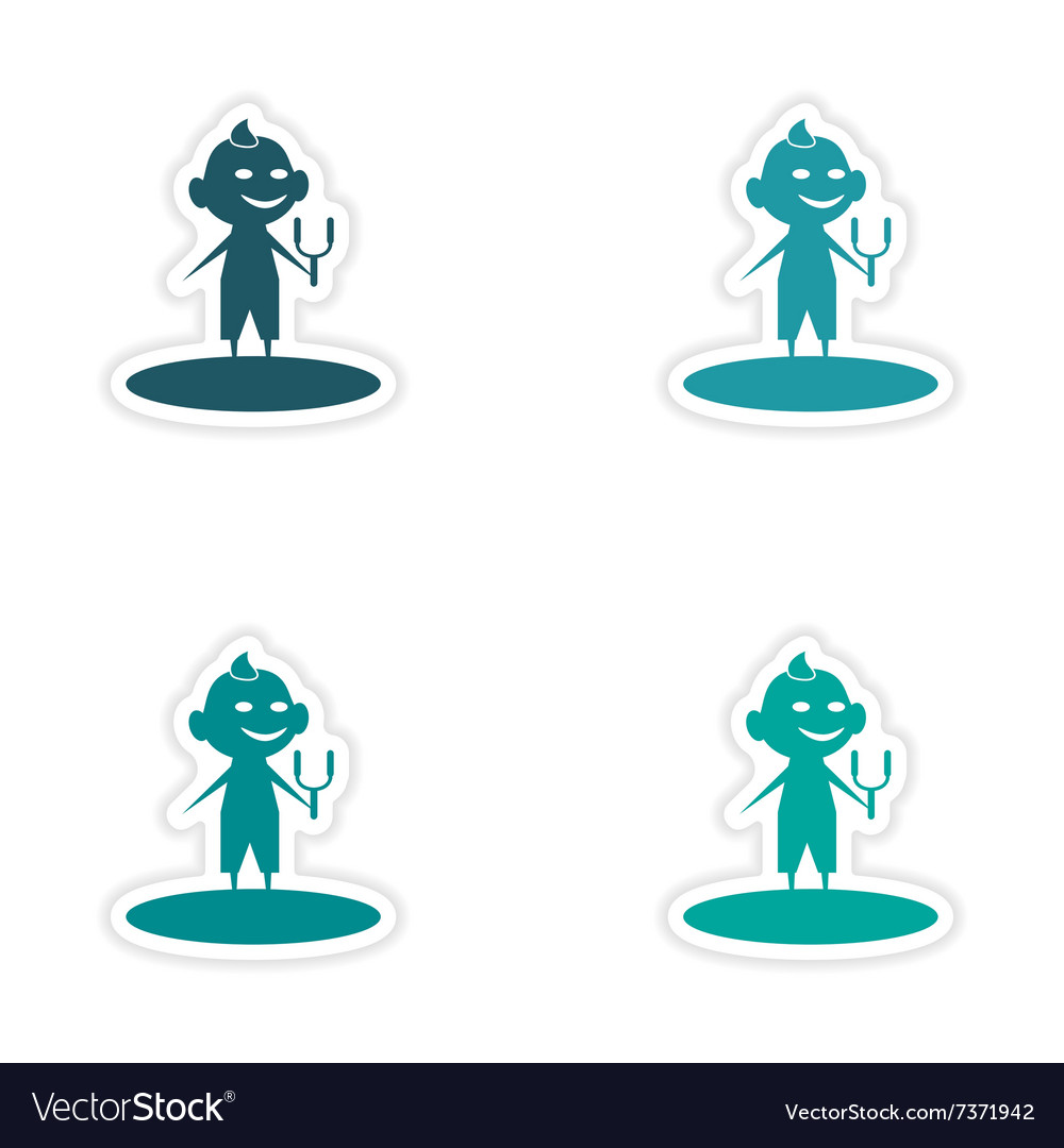 Assembly realistic sticker design on paper boy vector