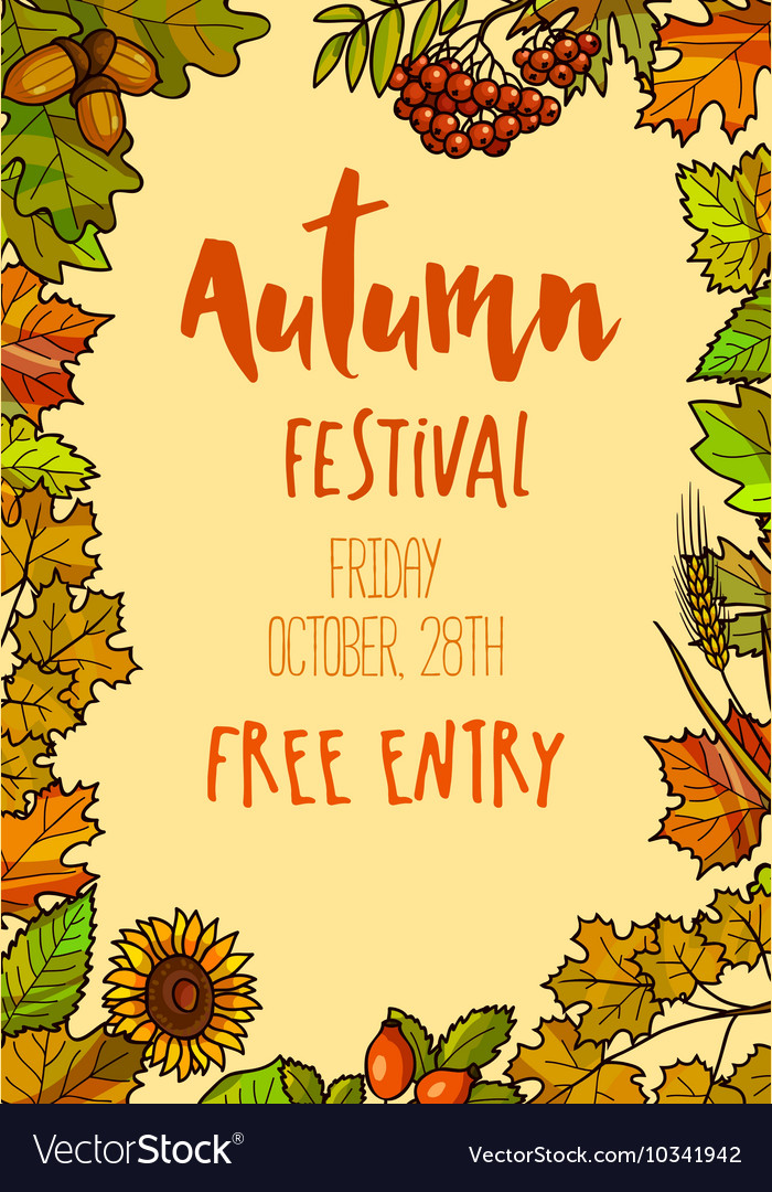 Autumn fall festival template background vector