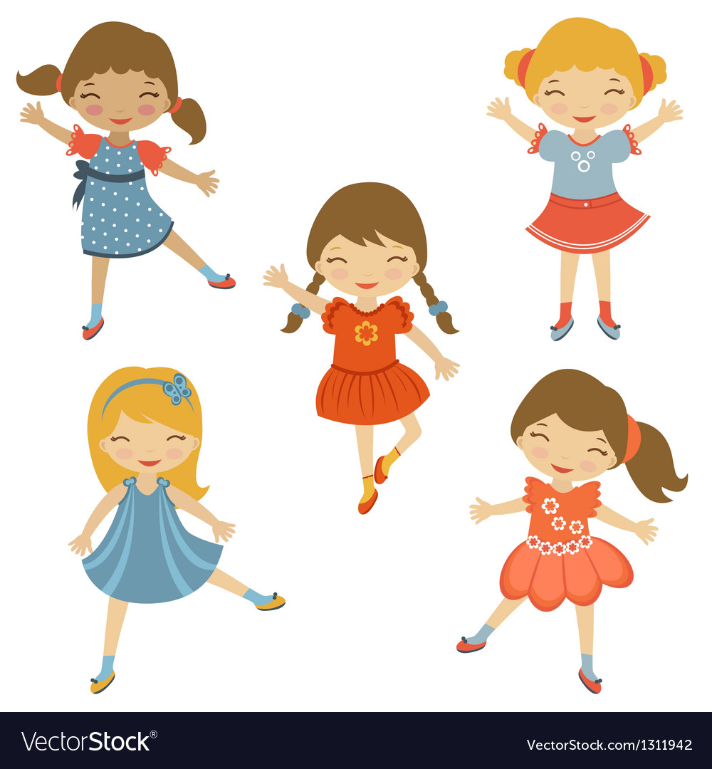 Dancing cuties vector