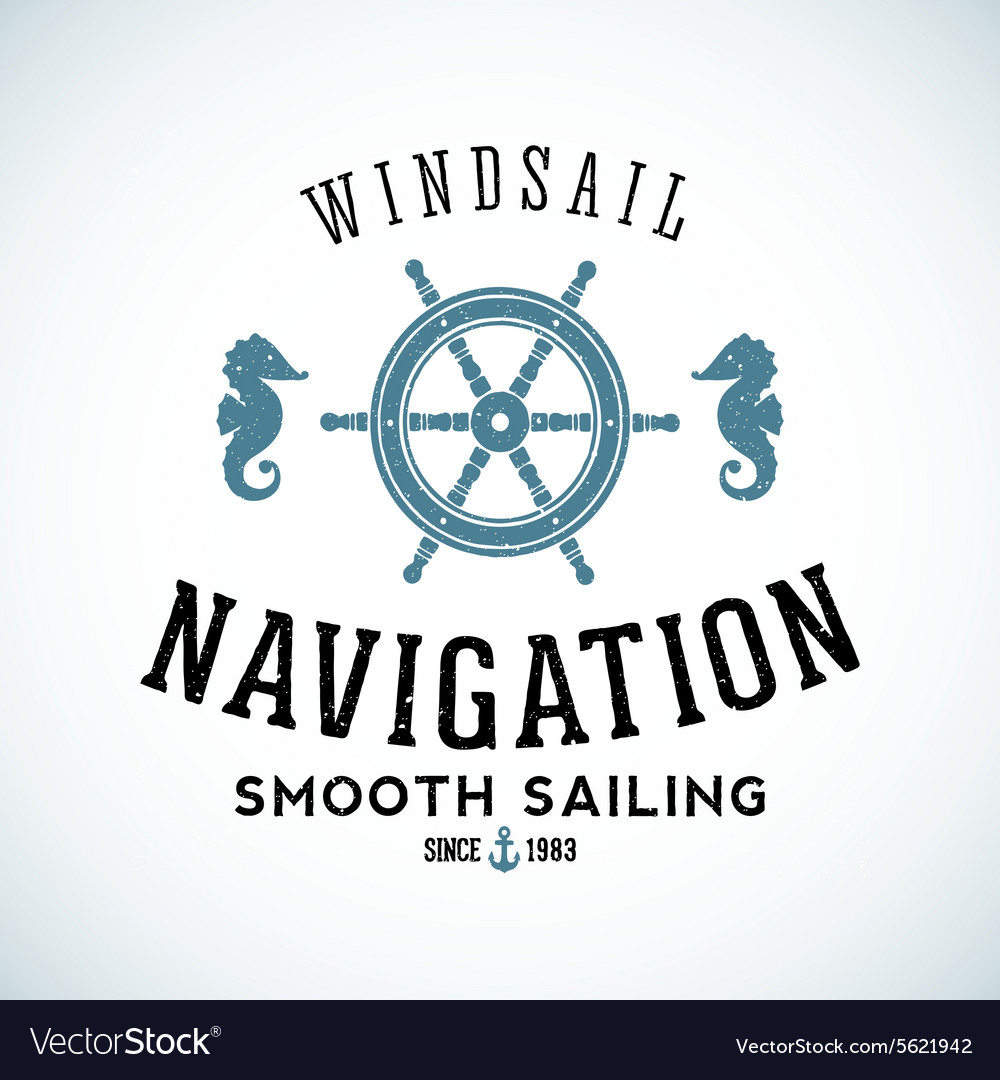 Maritime navigation abstract logo template vector