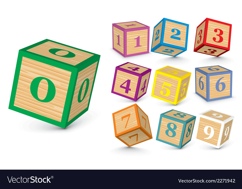 Wooden number blocks vector