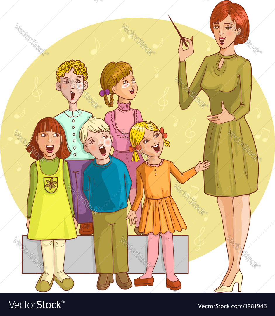 Music teacher singing with children chorus vector