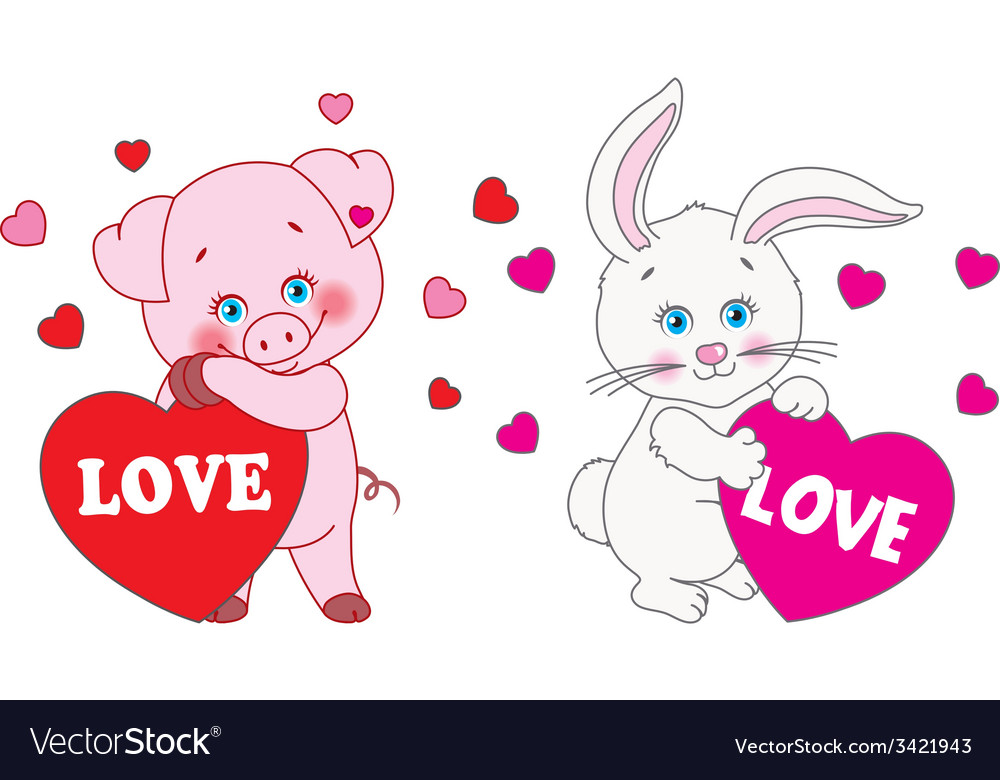 Pig and rabbit holding a heart characters vector