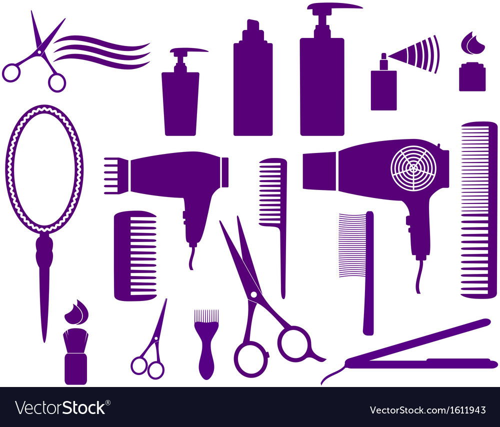 Set of hairstyling objects vector