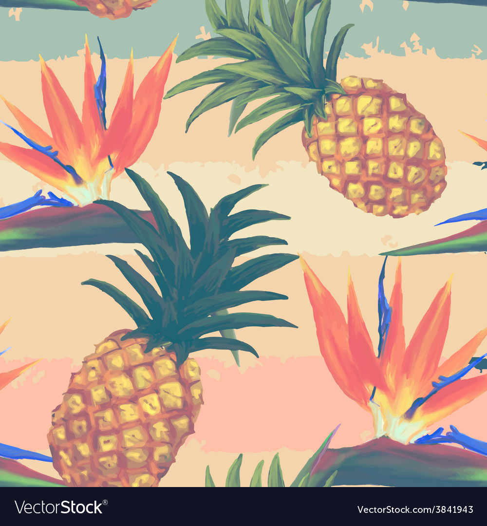 Tropical exotic flowers and pineapple seamless vector