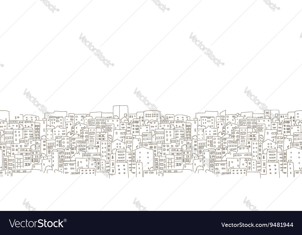 Abstract cityscape background seamless pattern vector
