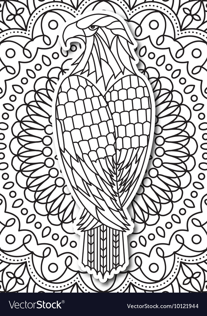 Eagle  coloring page for adults in ethnic style vector