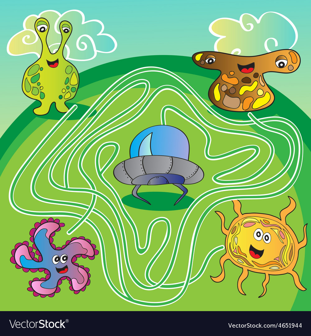 Ufo monster maze  vector