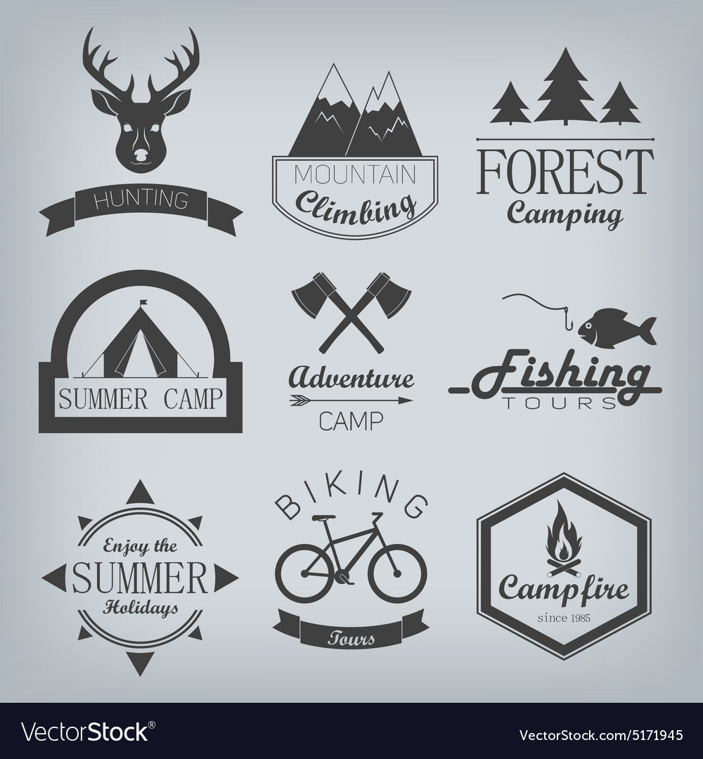 Camping and hunting logos vector