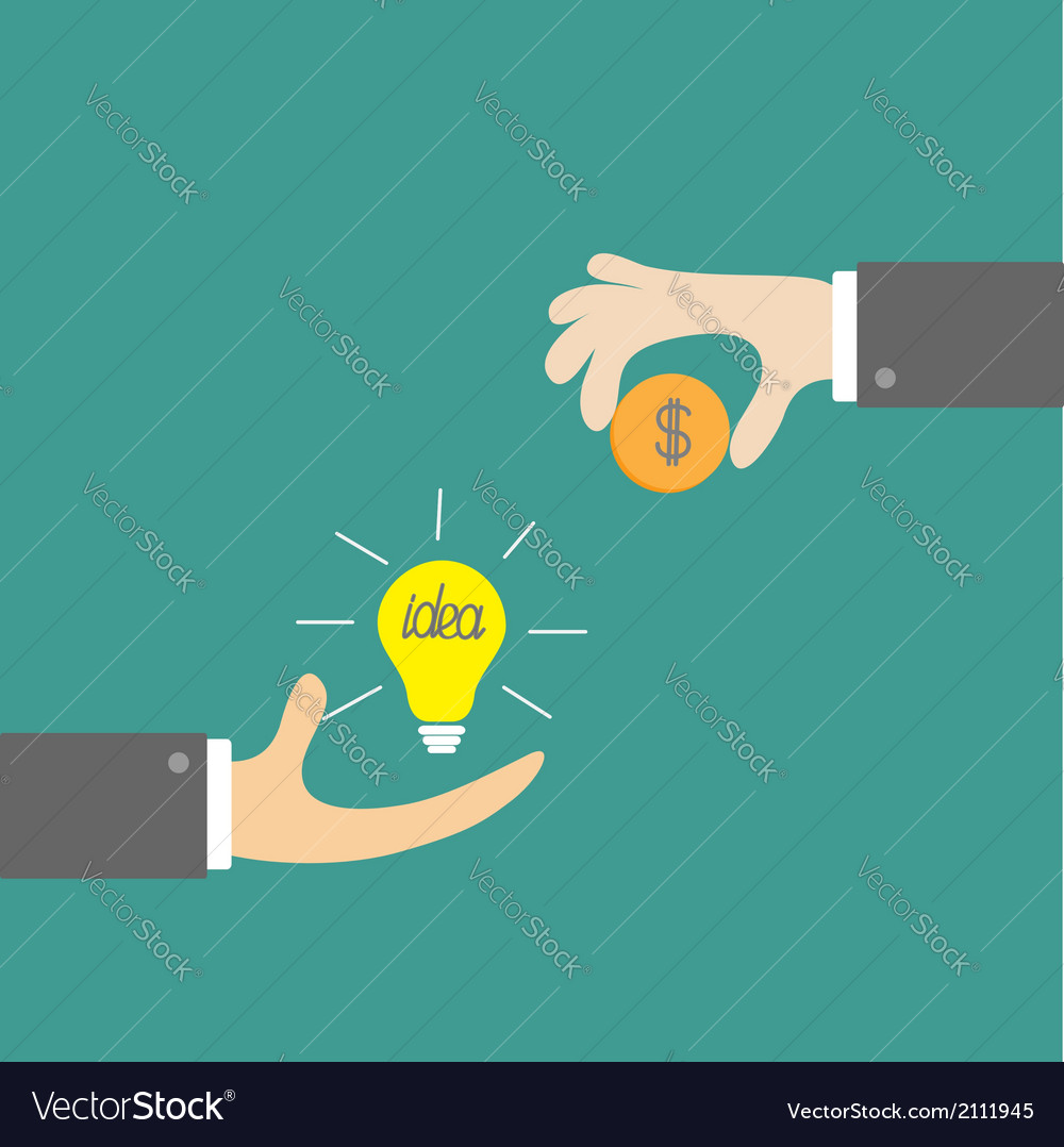 Hands with idea bulb and money coin exchanging vector