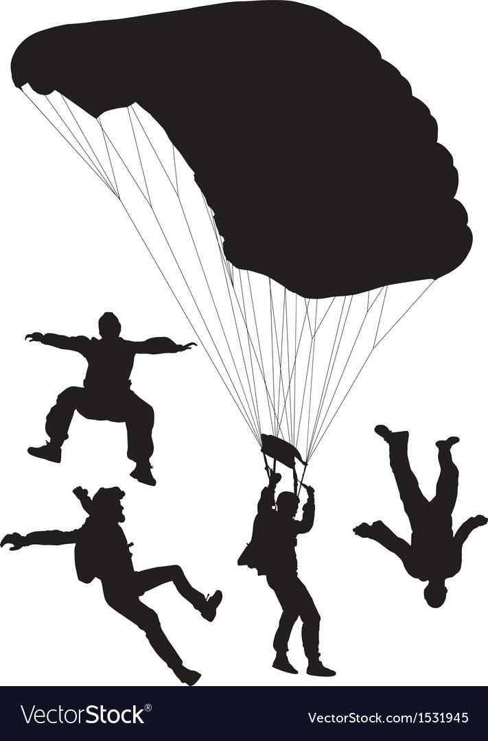 Skydiving silhouette vector