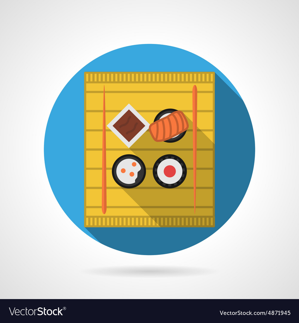 Sushi menu flat color icon vector