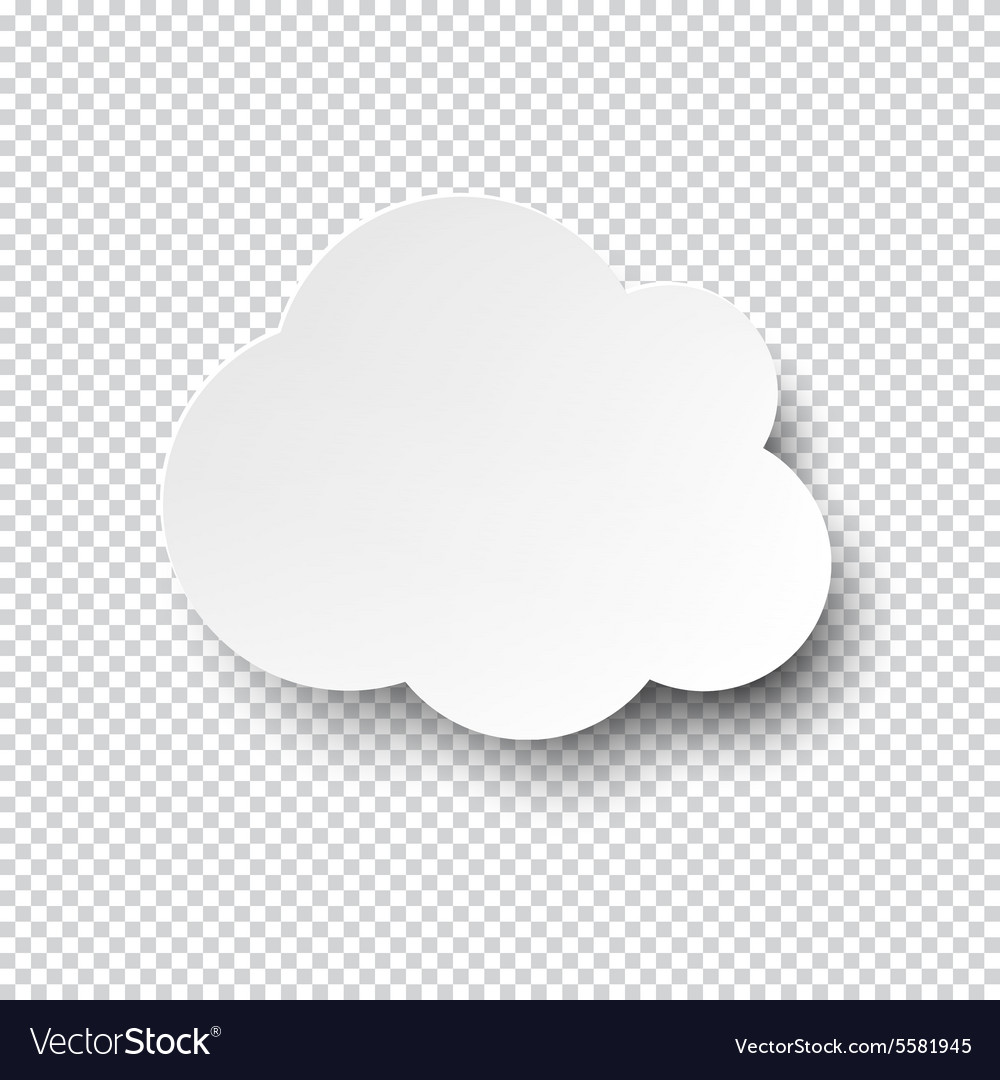 White cloud paper note with shadow vector