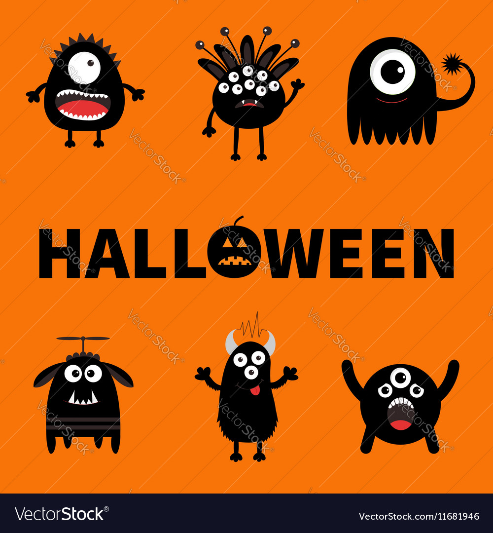 Happy halloween card text with pumpkin black vector