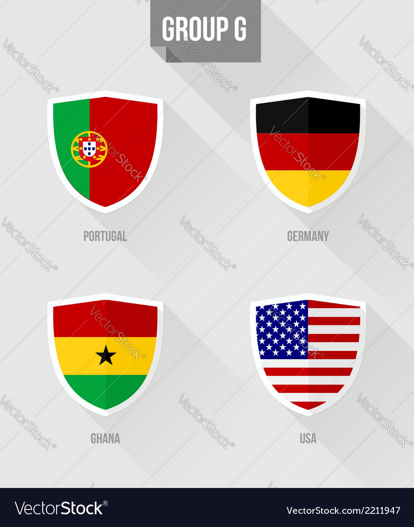 Brazil soccer championship 2014 group g flags vector