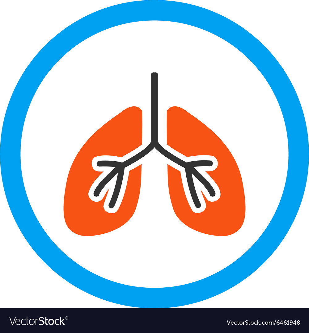 Lungs rounded icon vector
